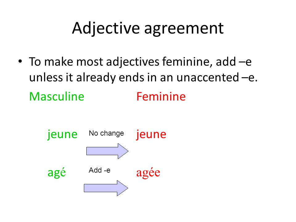 Adjective agreement To make most adjectives feminine, add –e unless it already ends in an unaccented –e. MasculineFemininejeune ag éagée No change Add