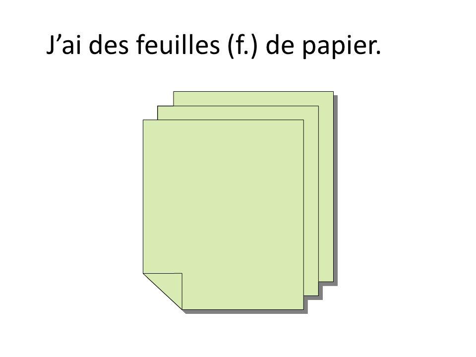 Jai des feuilles (f.) de papier.