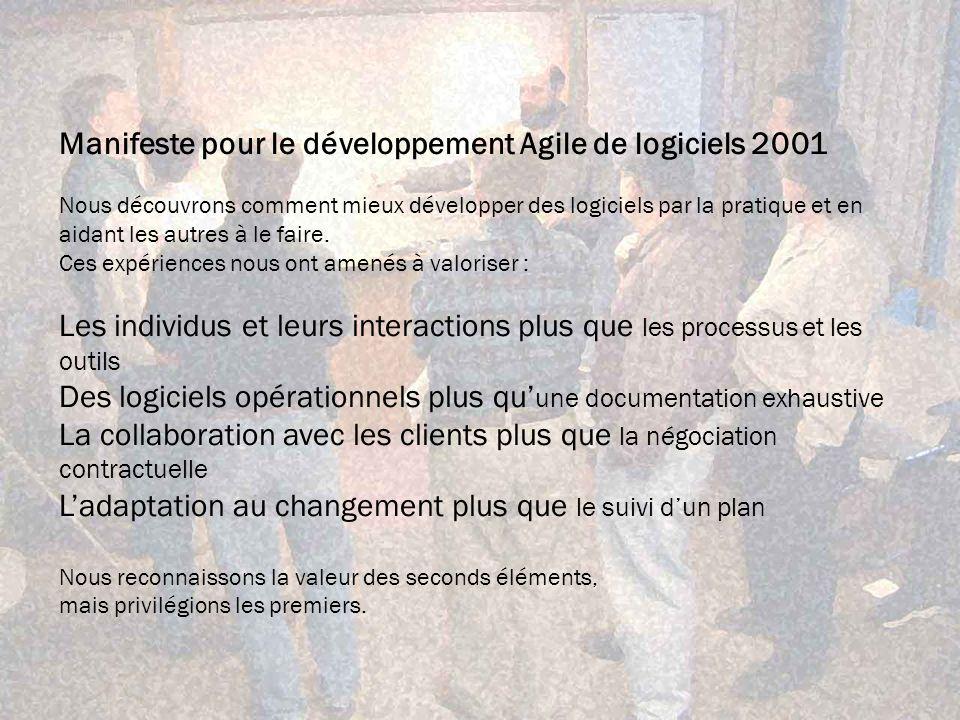 Manifeste pour le développement Agile de logiciels 2001 Nous découvrons comment mieux développer des logiciels par la pratique et en aidant les autres à le faire.