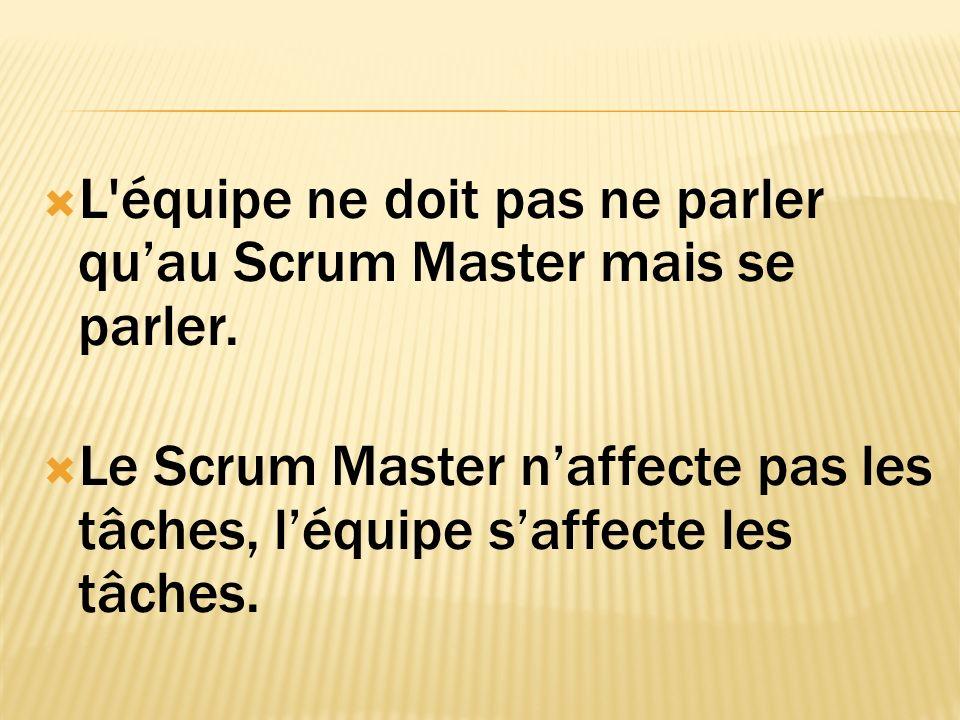 L équipe ne doit pas ne parler quau Scrum Master mais se parler.