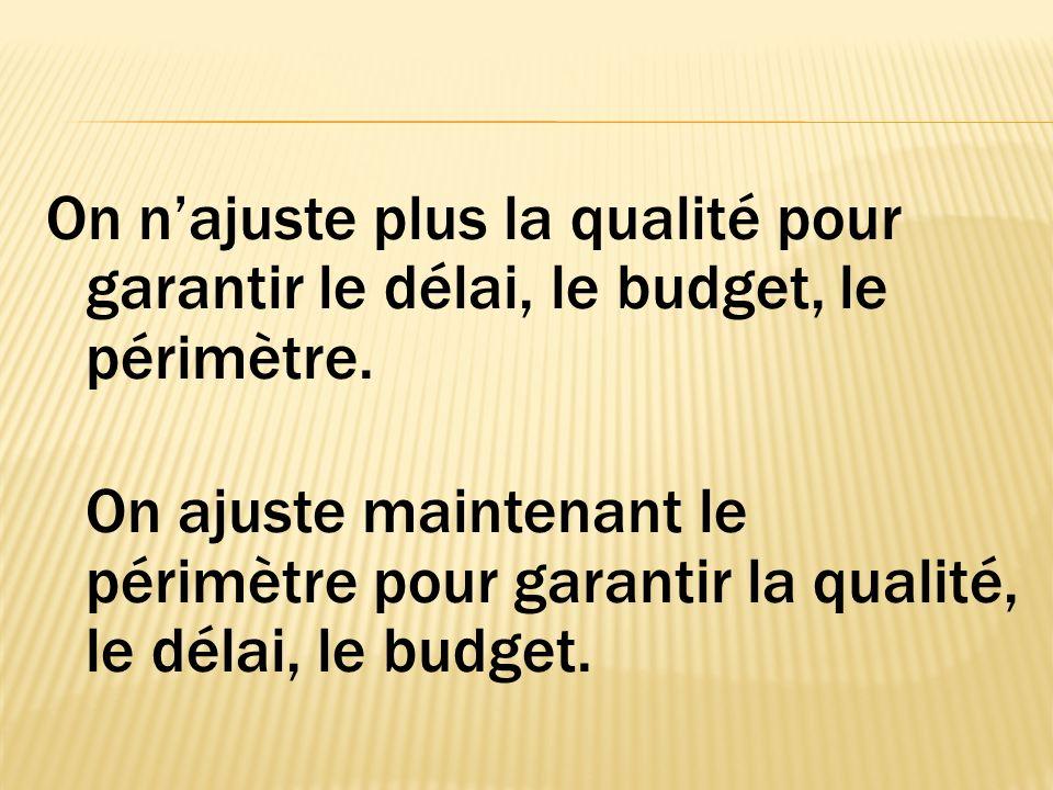 On najuste plus la qualité pour garantir le délai, le budget, le périmètre.