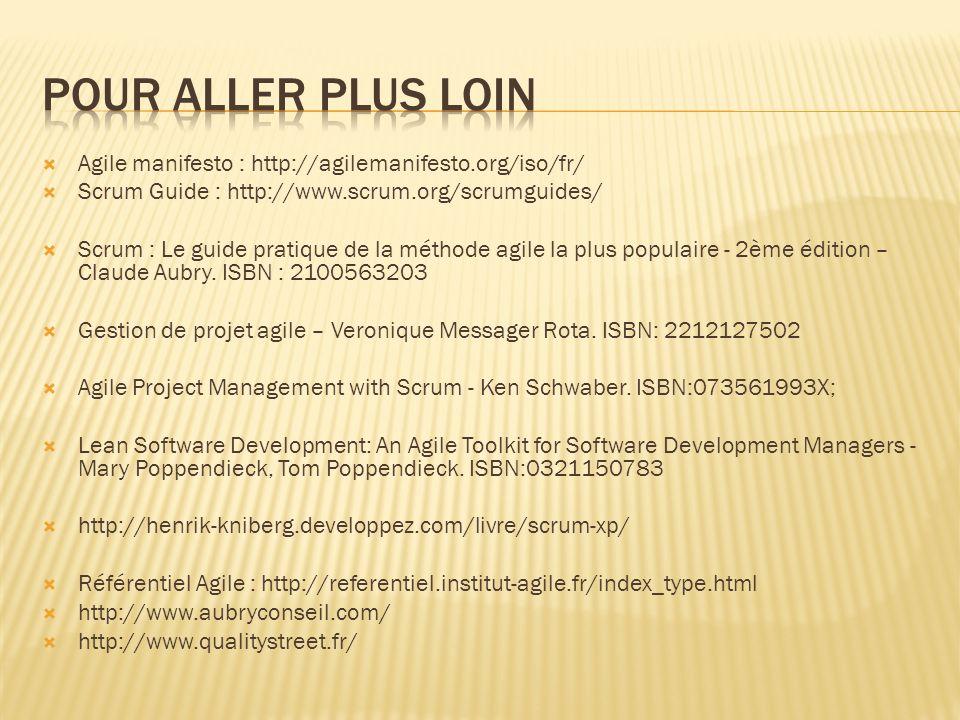 Agile manifesto : http://agilemanifesto.org/iso/fr/ Scrum Guide : http://www.scrum.org/scrumguides/ Scrum : Le guide pratique de la méthode agile la plus populaire - 2ème édition – Claude Aubry.