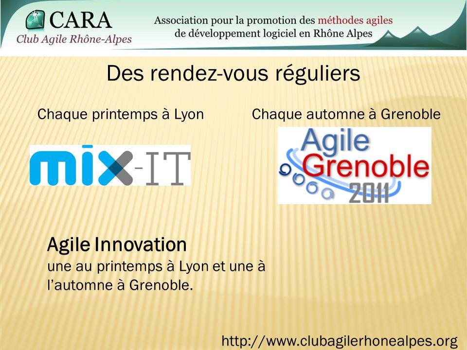 Chaque printemps à LyonChaque automne à Grenoble Des rendez-vous réguliers Agile Innovation une au printemps à Lyon et une à lautomne à Grenoble.