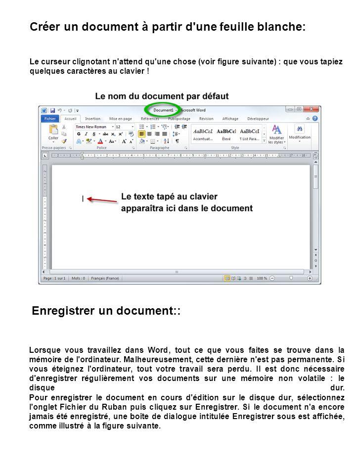 Créer un document à partir d'une feuille blanche: Le curseur clignotant n'attend qu'une chose (voir figure suivante) : que vous tapiez quelques caract