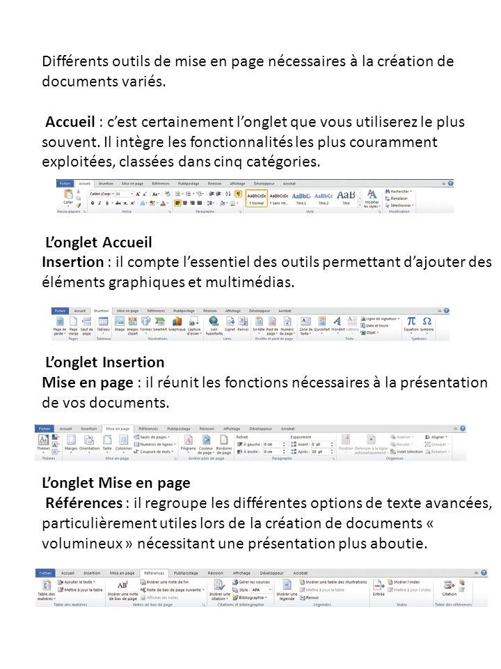 Différents outils de mise en page nécessaires à la création de documents variés. Accueil : cest certainement longlet que vous utiliserez le plus souve