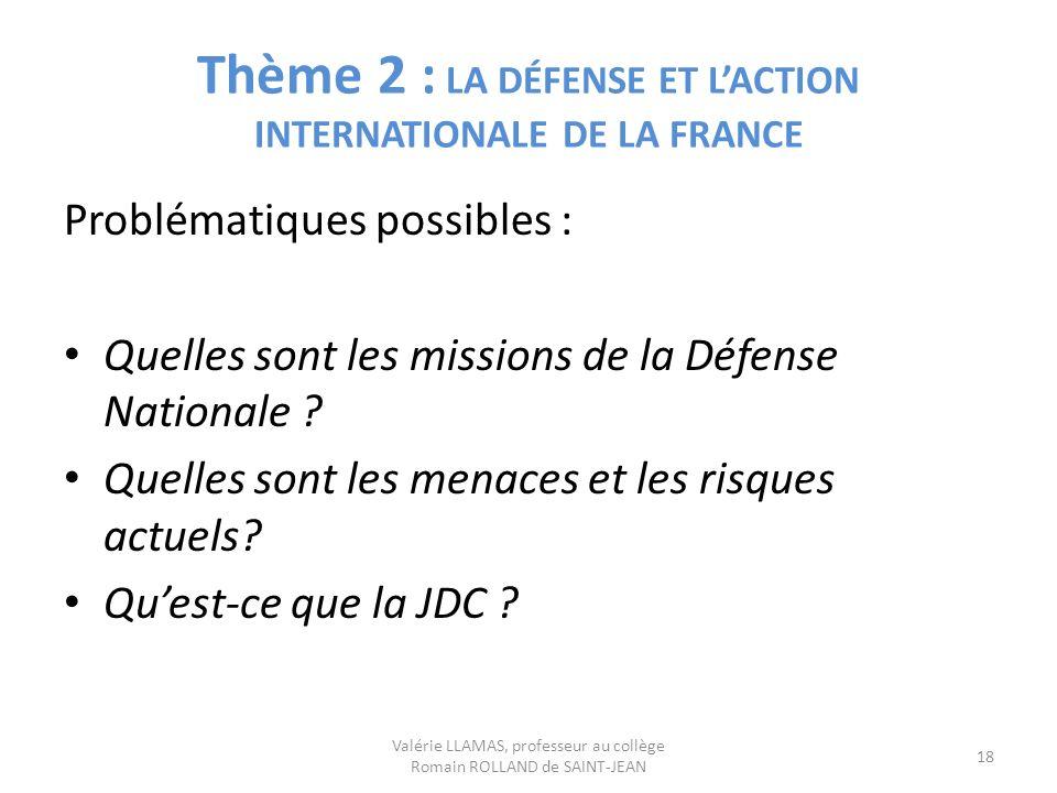 Thème 2 : LA DÉFENSE ET LACTION INTERNATIONALE DE LA FRANCE Problématiques possibles : Quelles sont les missions de la Défense Nationale ? Quelles son
