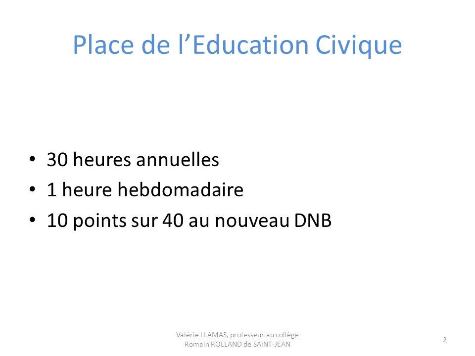Place de lEducation Civique 30 heures annuelles 1 heure hebdomadaire 10 points sur 40 au nouveau DNB Valérie LLAMAS, professeur au collège Romain ROLL