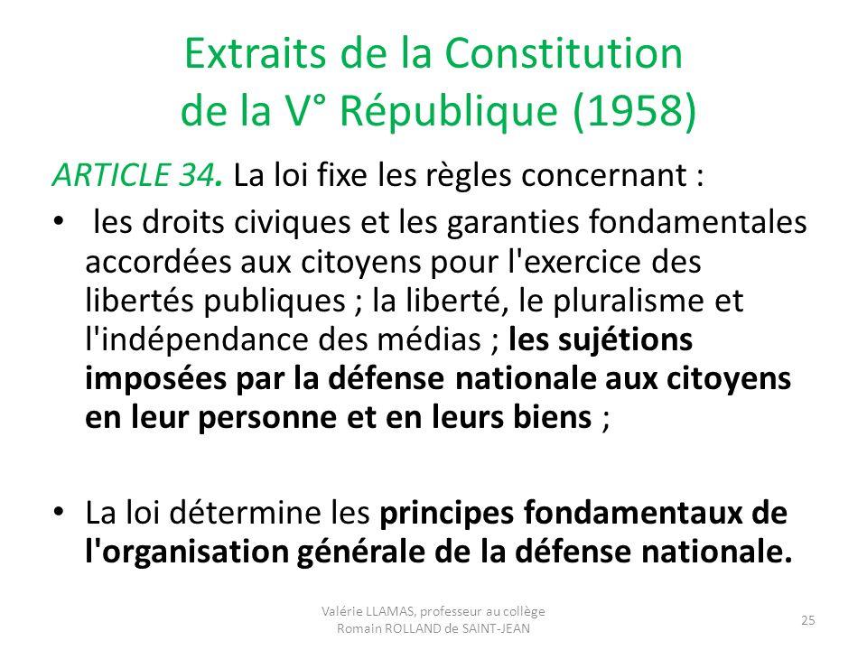 Extraits de la Constitution de la V° République (1958) ARTICLE 34. La loi fixe les règles concernant : les droits civiques et les garanties fondamenta