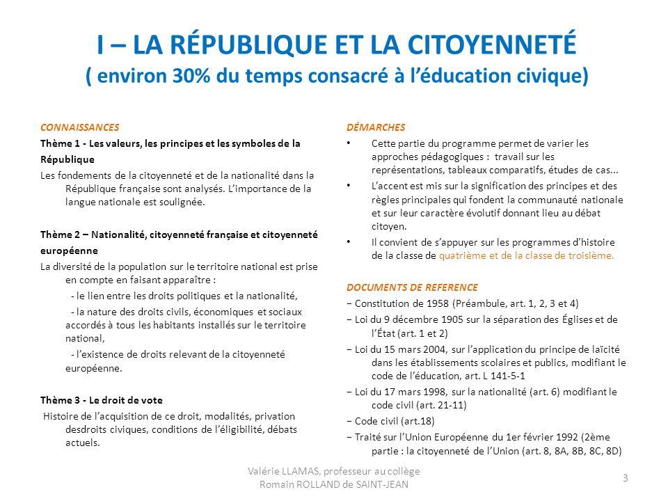 I – LA RÉPUBLIQUE ET LA CITOYENNETÉ ( environ 30% du temps consacré à léducation civique) CONNAISSANCES Thème 1 - Les valeurs, les principes et les sy