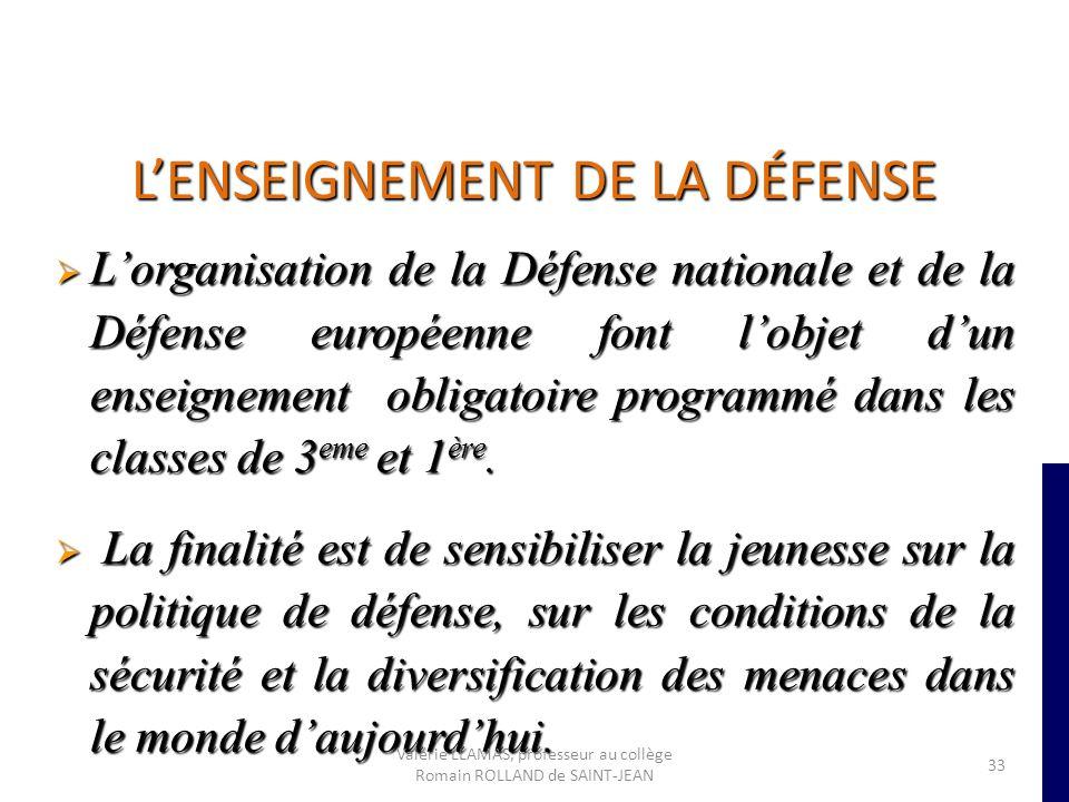LENSEIGNEMENT DE LA DÉFENSE Lorganisation de la Défense nationale et de la Défense européenne font lobjet dun enseignement obligatoire programmé dans