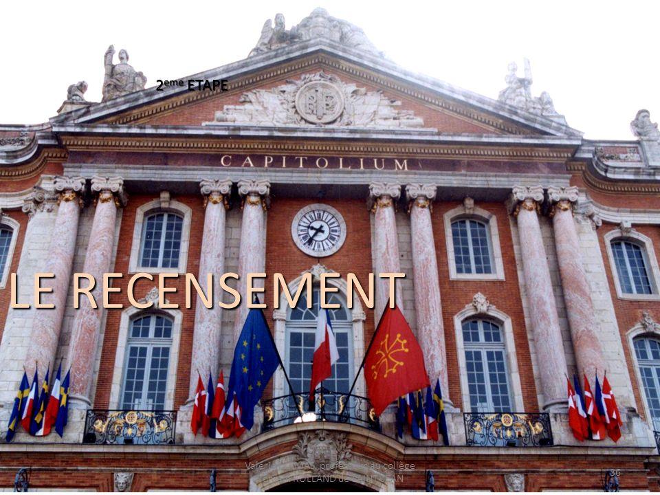 LE RECENSEMENT 2 eme ETAPE Valérie LLAMAS, professeur au collège Romain ROLLAND de SAINT-JEAN 36
