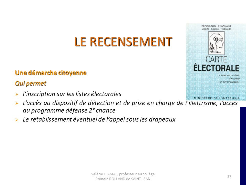 LE RECENSEMENT Une démarche citoyenne Qui permet linscription sur les listes électorales Laccès au dispositif de détection et de prise en charge de li