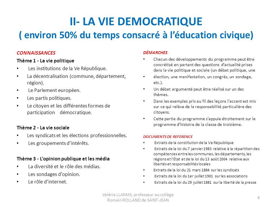 II- LA VIE DEMOCRATIQUE ( environ 50% du temps consacré à léducation civique) CONNAISSANCES Thème 1 - La vie politique Les institutions de la Ve Répub