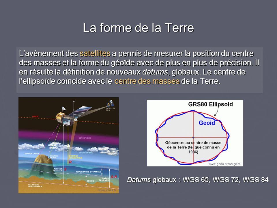 La forme de la Terre Lavènement des satellites a permis de mesurer la position du centre des masses et la forme du géoïde avec de plus en plus de préc