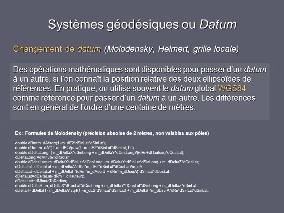 Changement de datum (Molodensky, Helmert, grille locale) Des opérations mathématiques sont disponibles pour passer dun datum à un autre, si lon connaî