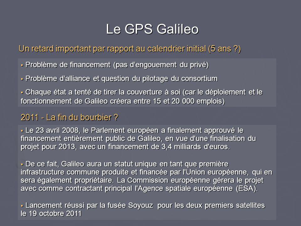 Le GPS Galileo Le GPS Galileo Problème de financement (pas dengouement du privé) Problème de financement (pas dengouement du privé) Problème dalliance
