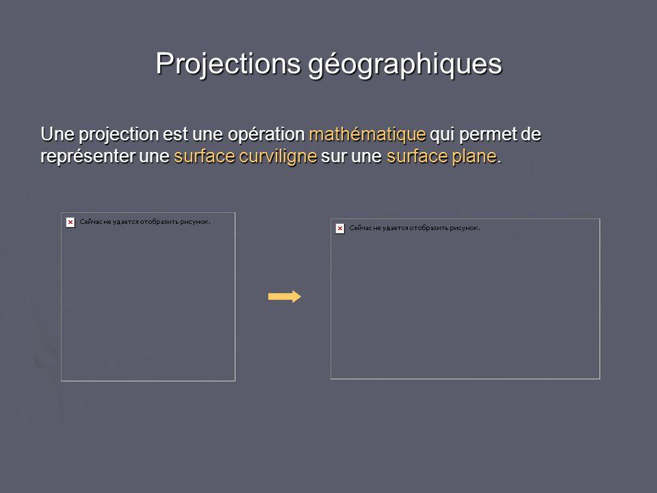 Projections géographiques Une projection est une opération mathématique qui permet de représenter une surface curviligne sur une surface plane.