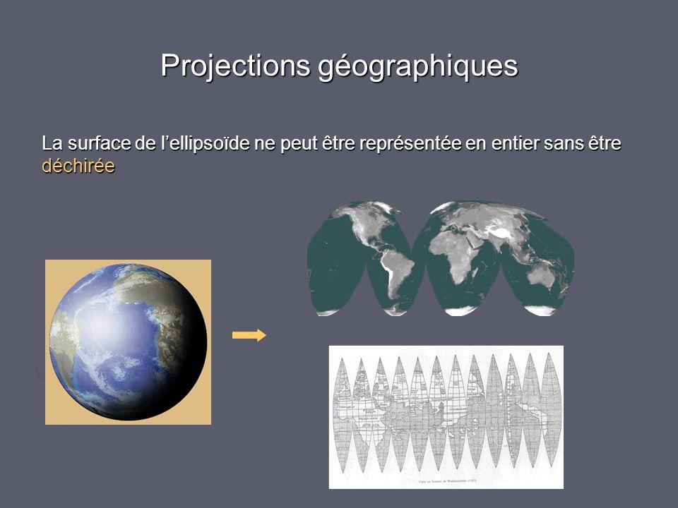 Projections géographiques La surface de lellipsoïde ne peut être représentée en entier sans être déchirée