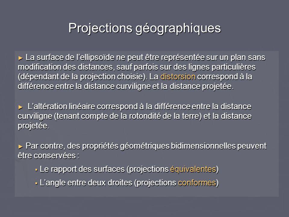Projections géographiques La surface de lellipsoïde ne peut être représentée sur un plan sans modification des distances, sauf parfois sur des lignes