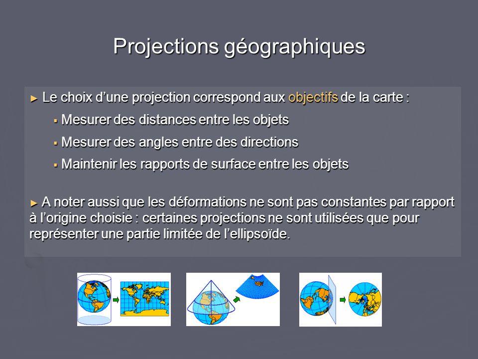 Projections géographiques Le choix dune projection correspond aux objectifs de la carte : Le choix dune projection correspond aux objectifs de la cart