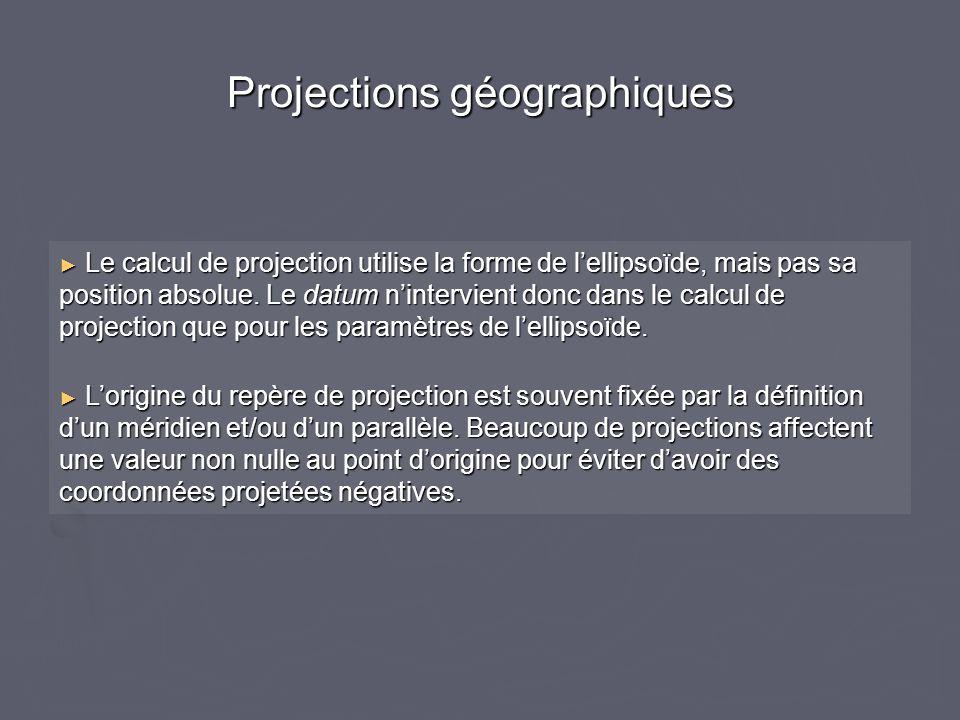 Projections géographiques Le calcul de projection utilise la forme de lellipsoïde, mais pas sa position absolue. Le datum nintervient donc dans le cal