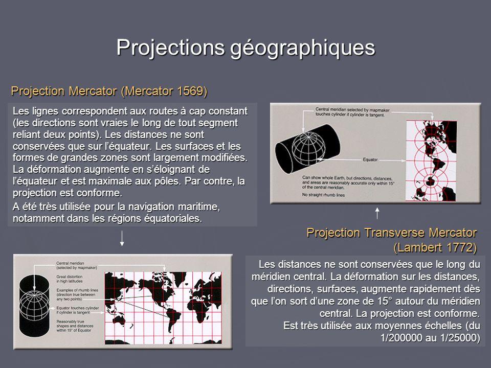 Projections géographiques Les lignes correspondent aux routes à cap constant (les directions sont vraies le long de tout segment reliant deux points).