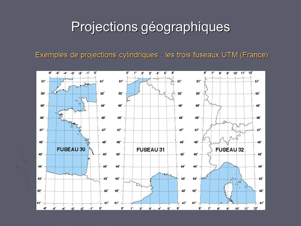Projections géographiques Exemples de projections cylindriques : les trois fuseaux UTM (France)