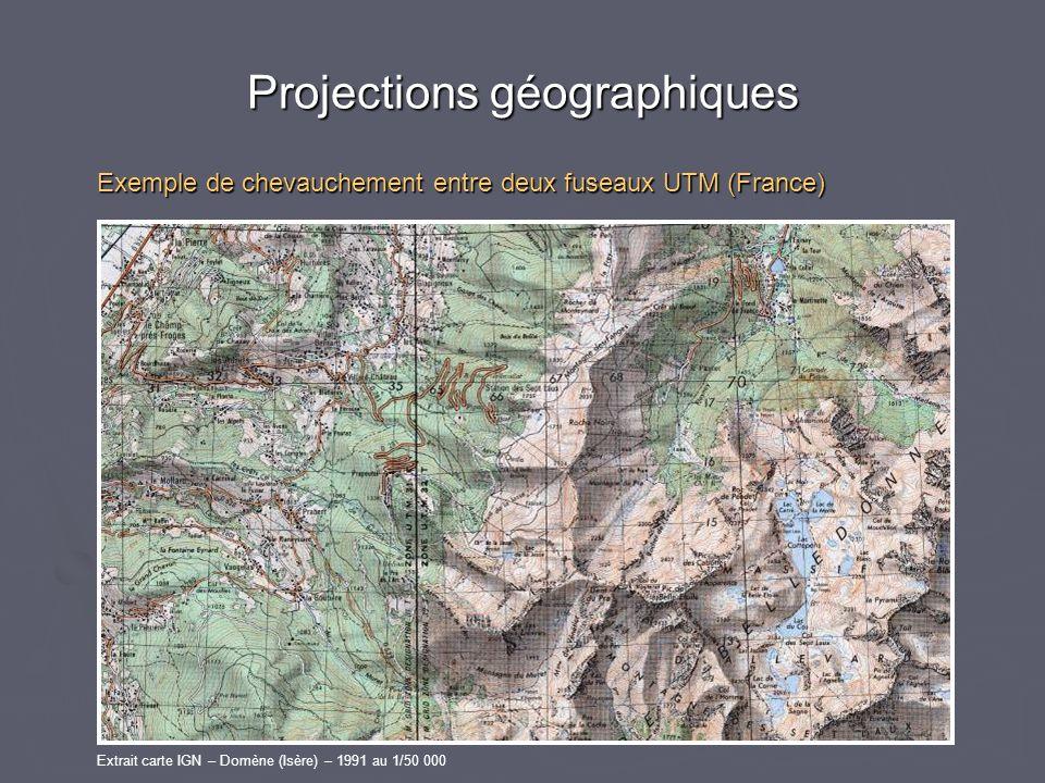 Projections géographiques Exemple de chevauchement entre deux fuseaux UTM (France) Extrait carte IGN – Domène (Isère) – 1991 au 1/50 000