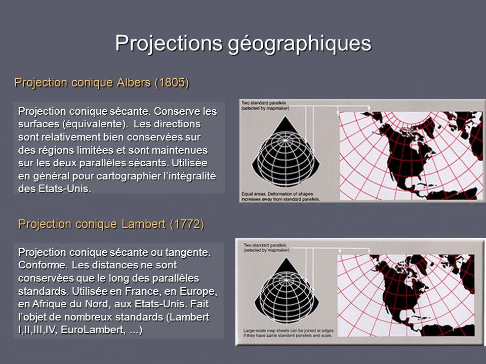 Projections géographiques Projection conique sécante. Conserve les surfaces (équivalente). Les directions sont relativement bien conservées sur des ré