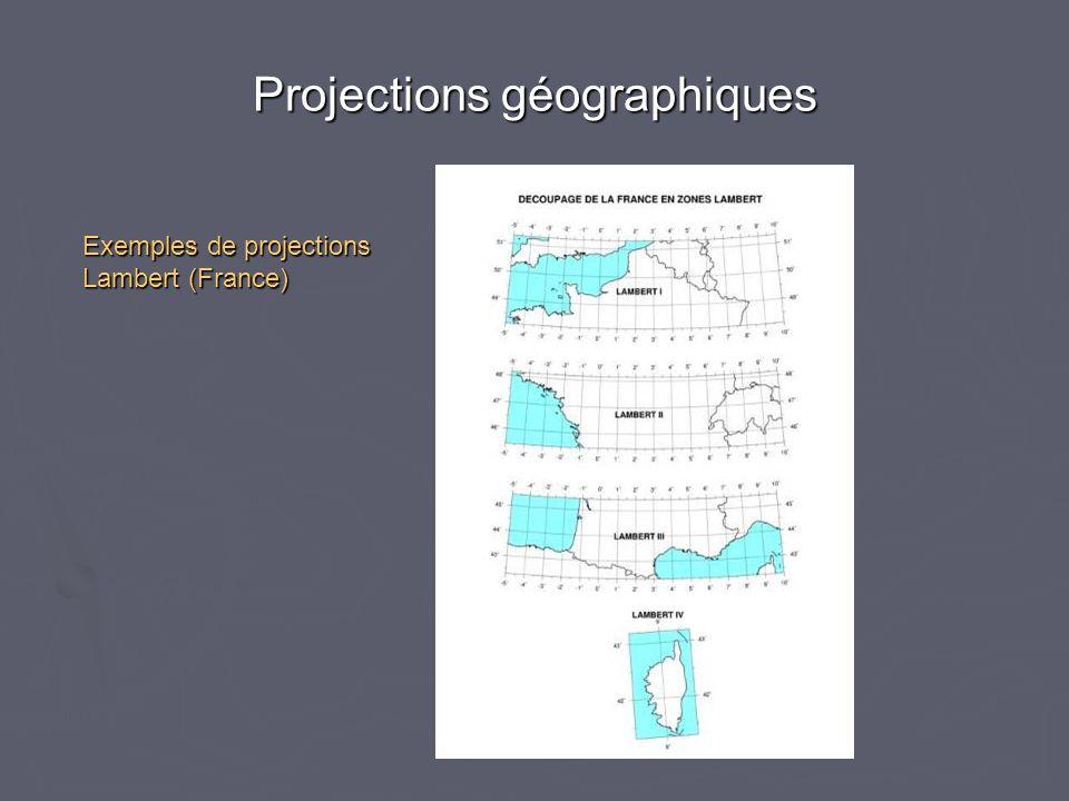 Projections géographiques Exemples de projections Lambert (France)