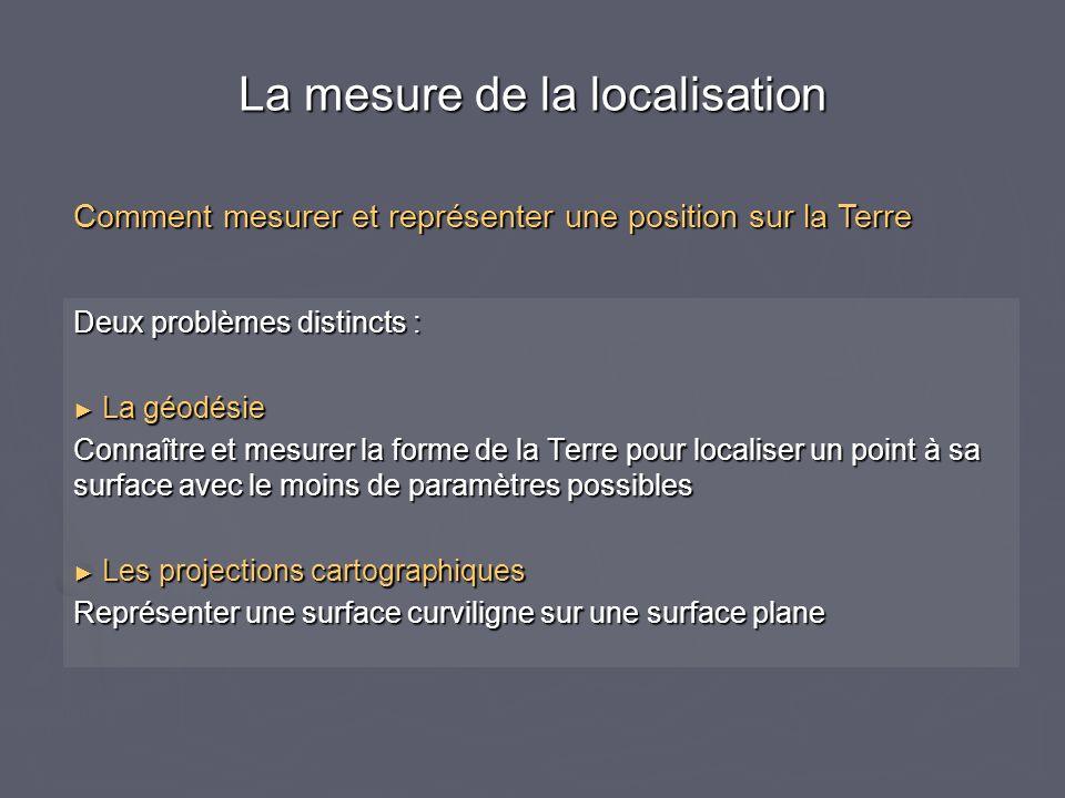 Deux problèmes distincts : La géodésie La géodésie Connaître et mesurer la forme de la Terre pour localiser un point à sa surface avec le moins de par