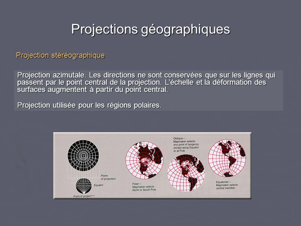 Projections géographiques Projection azimutale. Les directions ne sont conservées que sur les lignes qui passent par le point central de la projection