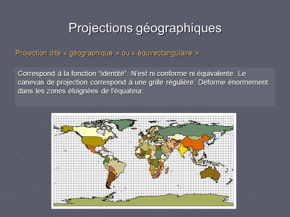 Projections géographiques Correspond à la fonction identité. Nest ni conforme ni équivalente. Le canevas de projection correspond à une grille réguliè