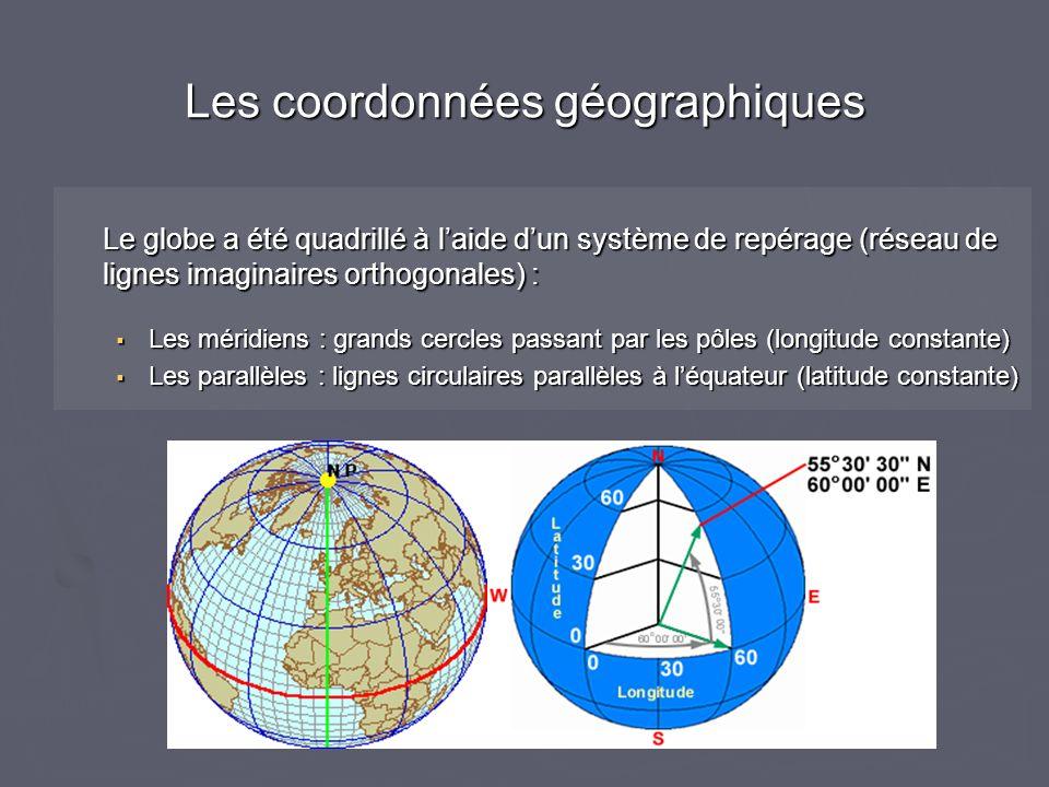Le globe a été quadrillé à laide dun système de repérage (réseau de lignes imaginaires orthogonales) : Les méridiens : grands cercles passant par les