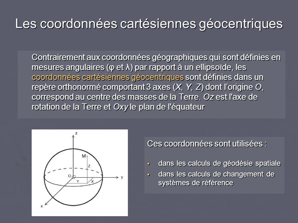 Contrairement aux coordonnées géographiques qui sont définies en mesures angulaires (φ et λ) par rapport à un ellipsoïde, les coordonnées cartésiennes