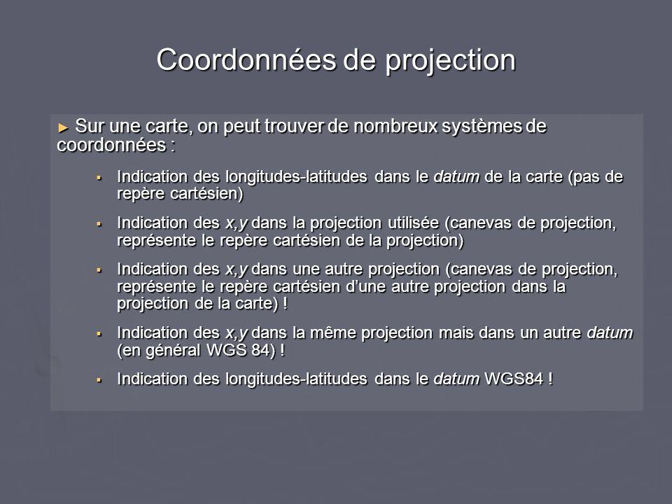 Coordonnées de projection Sur une carte, on peut trouver de nombreux systèmes de coordonnées : Sur une carte, on peut trouver de nombreux systèmes de