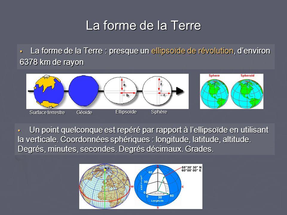 La forme de la Terre : presque un ellipsoïde de révolution, denviron La forme de la Terre : presque un ellipsoïde de révolution, denviron 6378 km de r