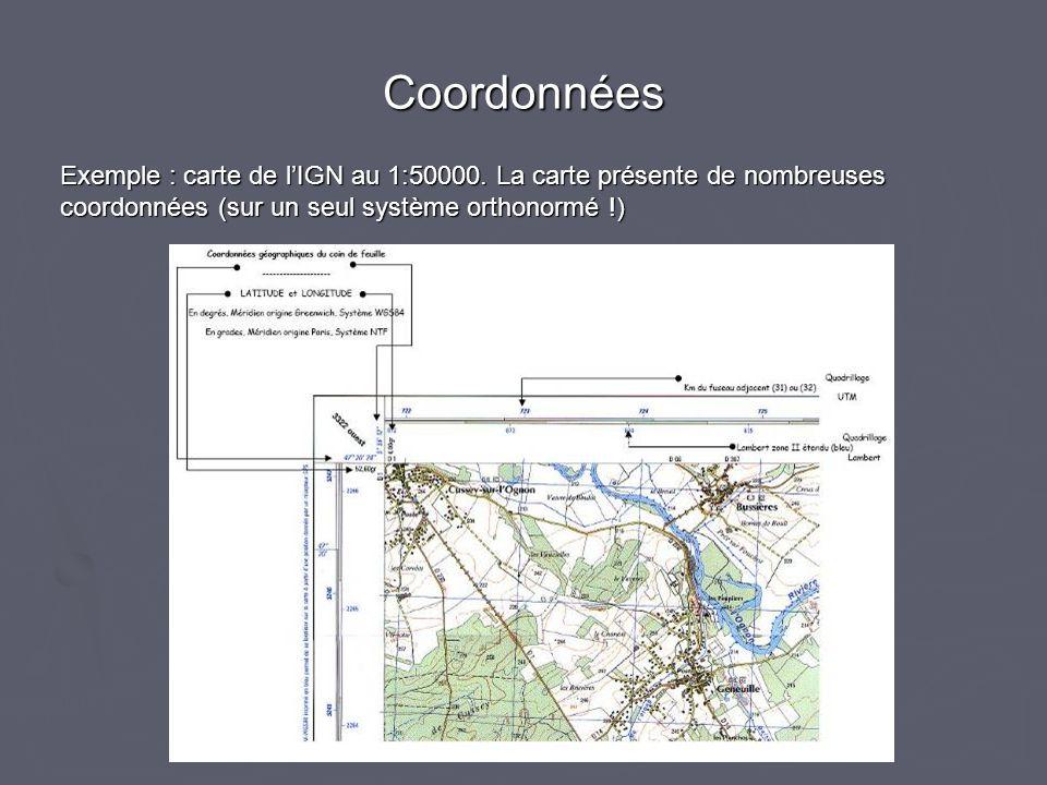 Coordonnées Exemple : carte de lIGN au 1:50000. La carte présente de nombreuses coordonnées (sur un seul système orthonormé !)