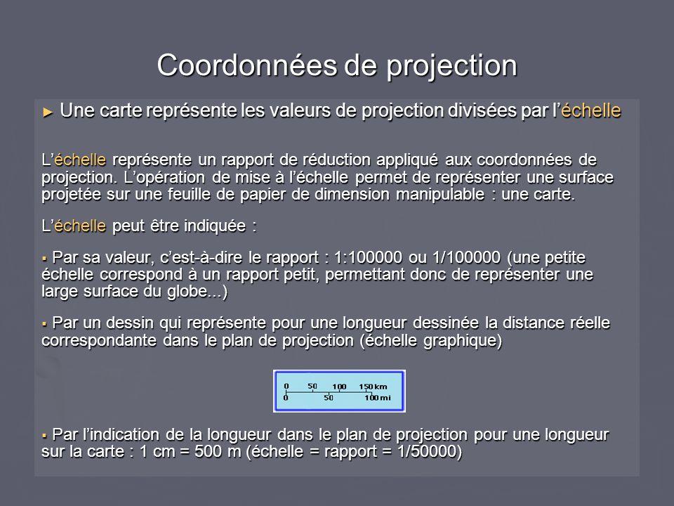 Coordonnées de projection Une carte représente les valeurs de projection divisées par léchelle Une carte représente les valeurs de projection divisées