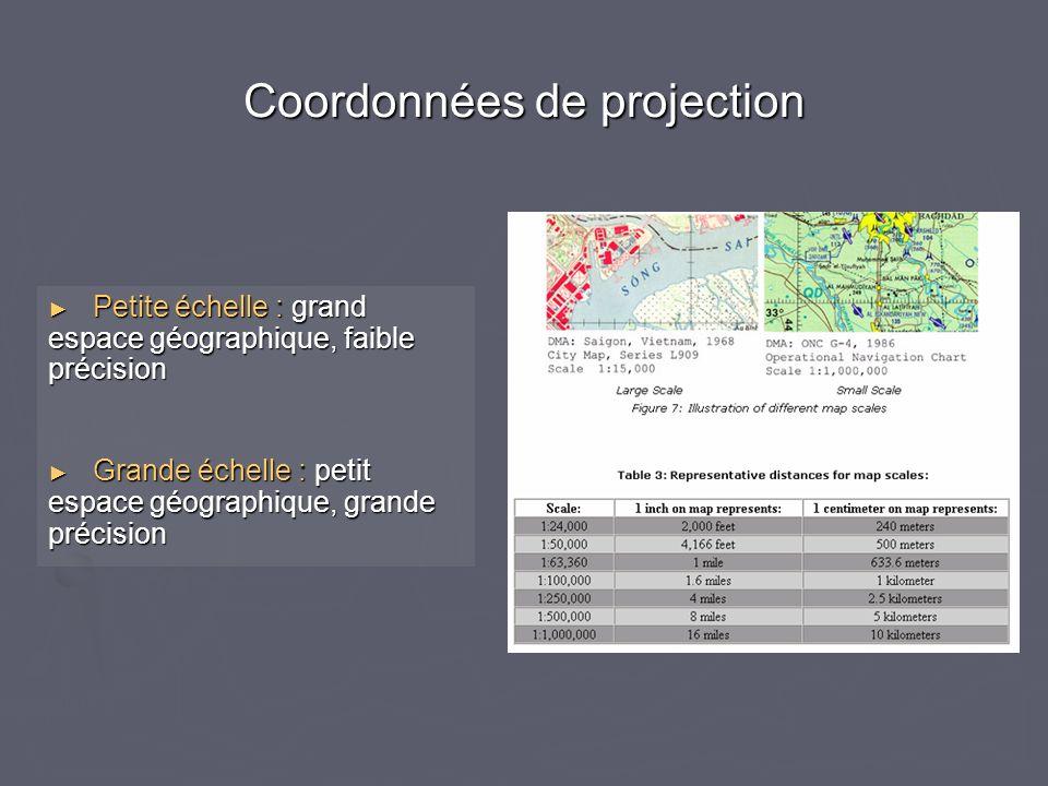 Coordonnées de projection Petite échelle : grand espace géographique, faible précision Petite échelle : grand espace géographique, faible précision Gr