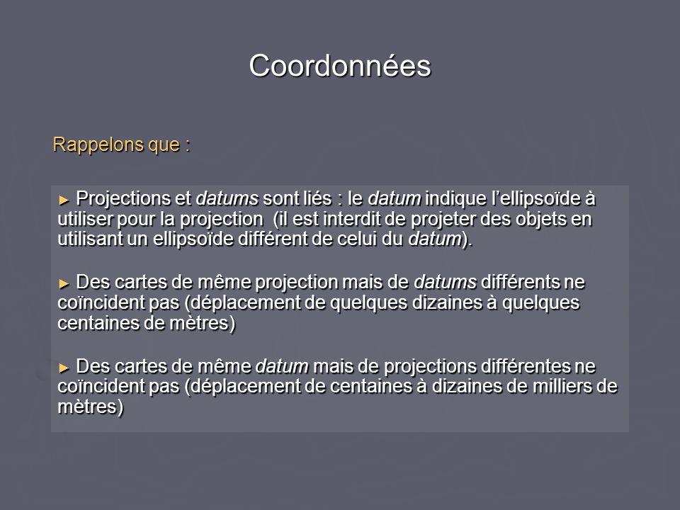 Coordonnées Projections et datums sont liés : le datum indique lellipsoïde à utiliser pour la projection (il est interdit de projeter des objets en ut