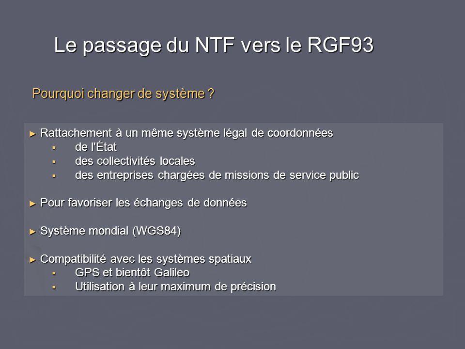 Le passage du NTF vers le RGF93 Rattachement à un même système légal de coordonnées Rattachement à un même système légal de coordonnées de l'État de l