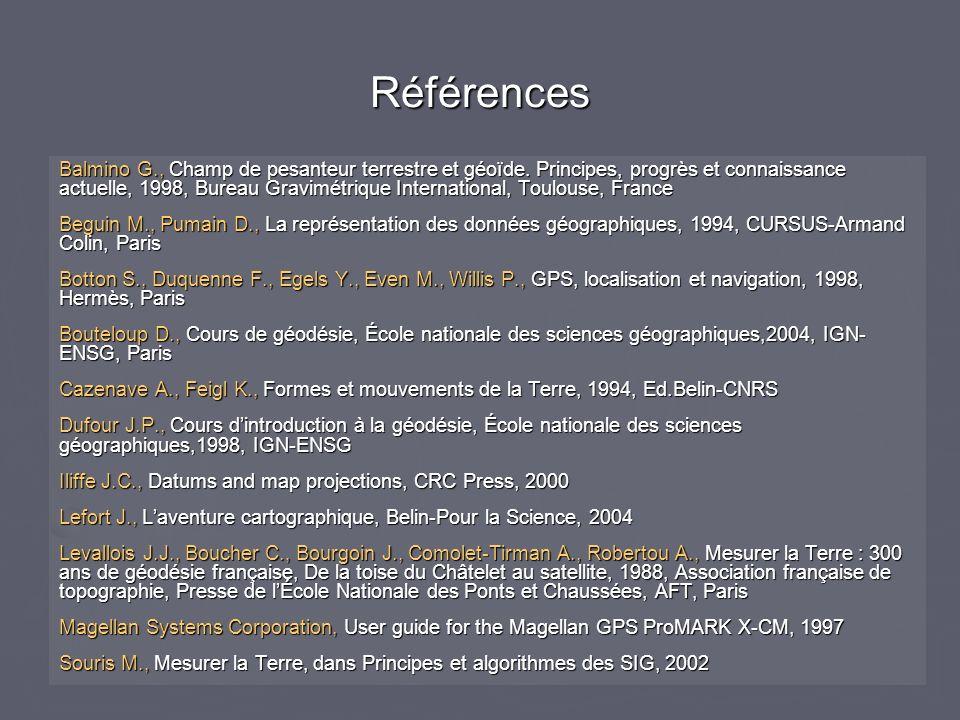 Références Balmino G., Champ de pesanteur terrestre et géoïde. Principes, progrès et connaissance actuelle, 1998, Bureau Gravimétrique International,