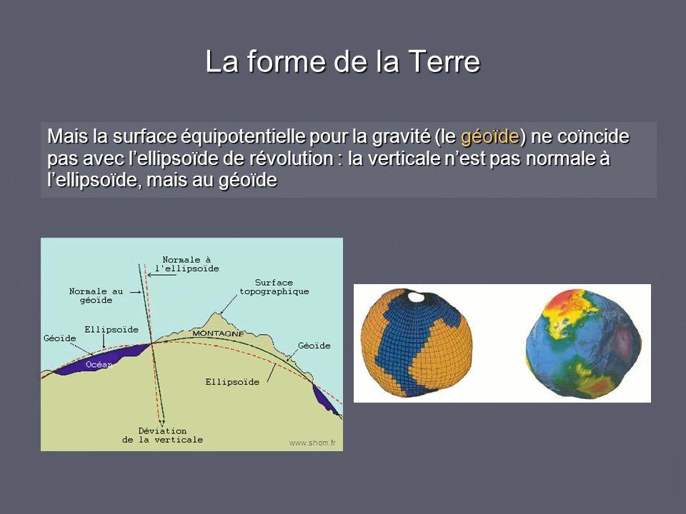 La forme de la Terre Mais la surface équipotentielle pour la gravité (le géoïde) ne coïncide pas avec lellipsoïde de révolution : la verticale nest pa