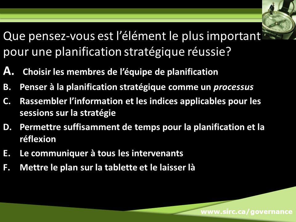 A. Choisir les membres de léquipe de planification B.Penser à la planification stratégique comme un processus C.Rassembler linformation et les indices