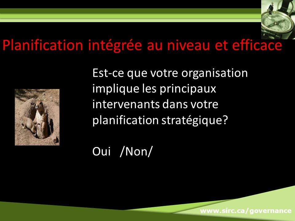 www.sirc.ca/governance Planification intégrée au niveau et efficace Est-ce que votre organisation implique les principaux intervenants dans votre planification stratégique.