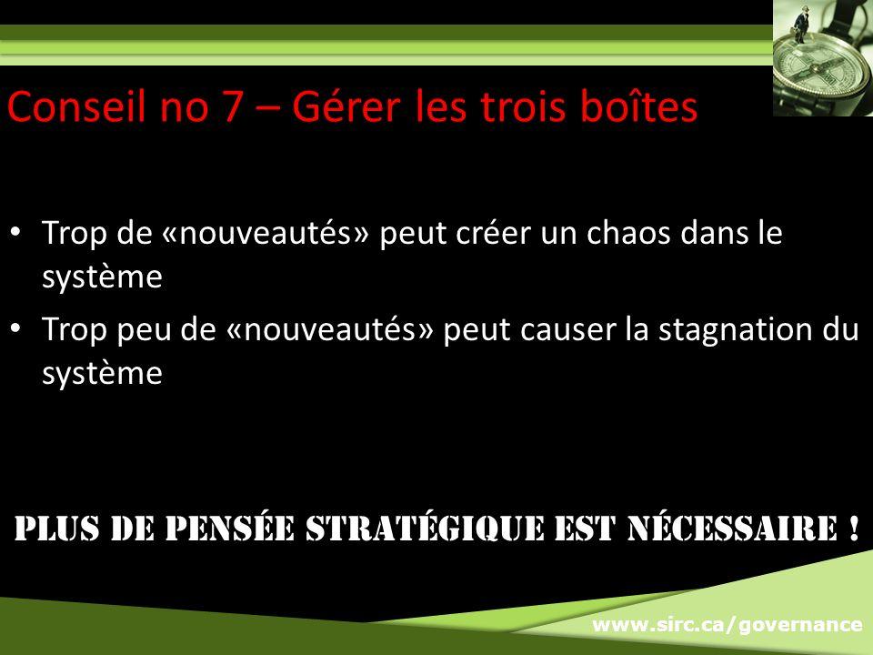 www.sirc.ca/governance Trop de «nouveautés» peut créer un chaos dans le système Trop peu de «nouveautés» peut causer la stagnation du système PLUS DE PENSÉE stratÉgiQUE EST NÉCESSAIRE .