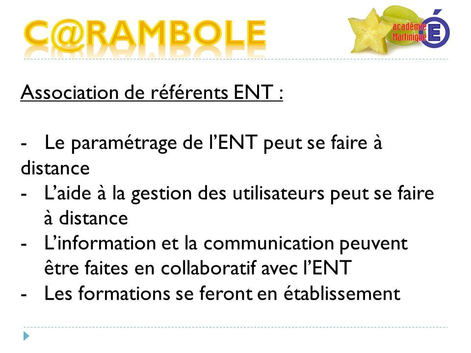 Association de référents ENT : - Le paramétrage de lENT peut se faire à distance -Laide à la gestion des utilisateurs peut se faire à distance -Linfor