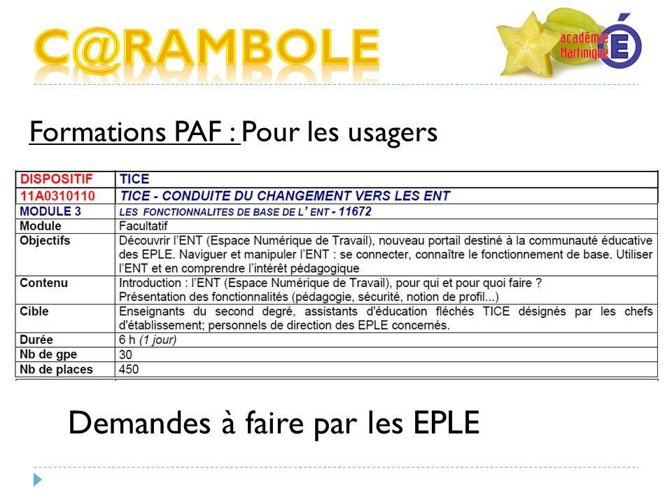 Formations PAF : Pour les usagers Demandes à faire par les EPLE