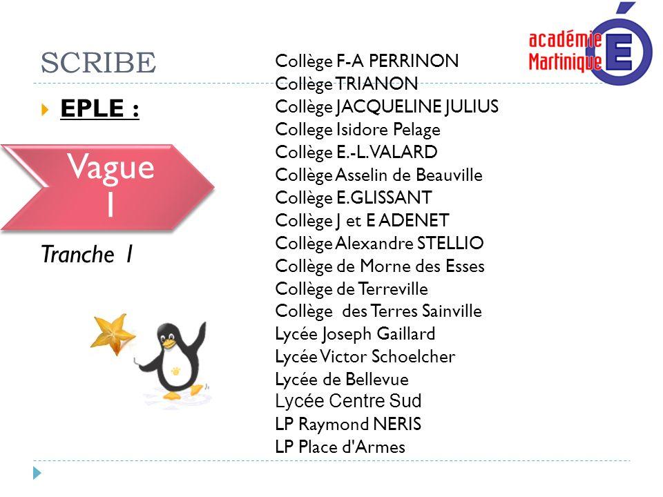 SCRIBE EPLE : Vague 1 Tranche 1 Collège F-A PERRINON Collège TRIANON Collège JACQUELINE JULIUS College Isidore Pelage Collège E.-L. VALARD Collège Ass